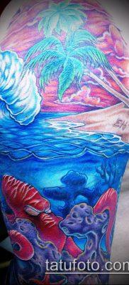 тату океан №766 – интересный вариант рисунка, который хорошо можно использовать для переделки и нанесения как тату море волны