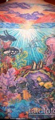 тату океан №881 – классный вариант рисунка, который хорошо можно использовать для переделки и нанесения как Tattoo ocean