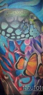 тату океан №92 – прикольный вариант рисунка, который удачно можно использовать для переделки и нанесения как тату океан в круге