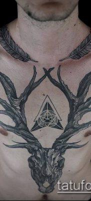 фото тату олень с рогами (tattoo) (значение) – пример рисунка – 001 tatufoto.com