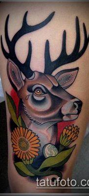 фото тату олень с рогами (tattoo) (значение) – пример рисунка – 004 tatufoto.com