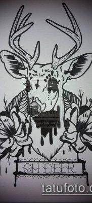 фото тату олень с рогами (tattoo) (значение) – пример рисунка – 037 tatufoto.com
