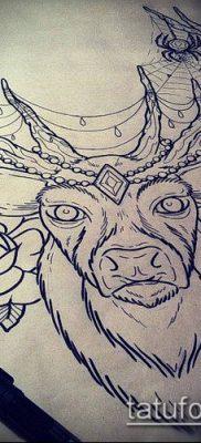 фото тату олень с рогами (tattoo) (значение) – пример рисунка – 068 tatufoto.com