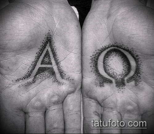 тату омега №561 - крутой вариант рисунка, который легко можно использовать для преобразования и нанесения как тату омега на запястье