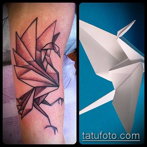 тату оригами №10 - достойный вариант рисунка, который хорошо можно использовать для переработки и нанесения как тату оригами журавлик