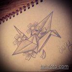 тату оригами №615 - классный вариант рисунка, который успешно можно использовать для доработки и нанесения как тату оригами журавлик