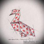 тату оригами №255 - классный вариант рисунка, который успешно можно использовать для переработки и нанесения как тату оригами кошка