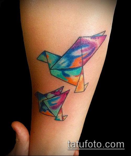 тату оригами №646 - интересный вариант рисунка, который легко можно использовать для доработки и нанесения как тату оригами животные