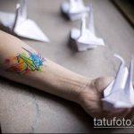 тату оригами №87 - классный вариант рисунка, который успешно можно использовать для доработки и нанесения как тату оригами перо