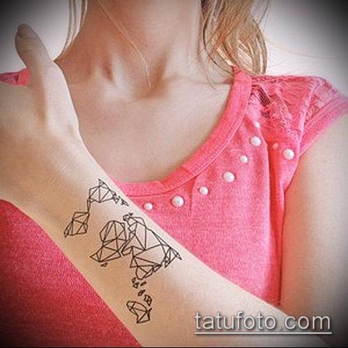 тату оригами №193 - уникальный вариант рисунка, который удачно можно использовать для переработки и нанесения как тату оригами журавлик