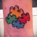 тату пазл №395 - классный вариант рисунка, который хорошо можно использовать для переделки и нанесения как тату пазлы на шее