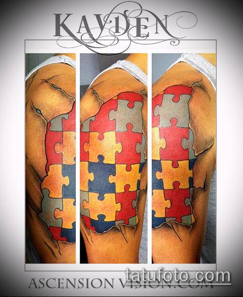 тату пазл №779 - классный вариант рисунка, который хорошо можно использовать для доработки и нанесения как тату пазл сердце