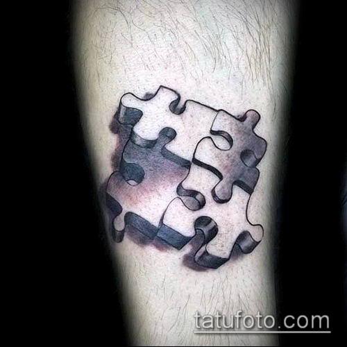 тату пазл №384 - прикольный вариант рисунка, который легко можно использовать для доработки и нанесения как тату пазл за ухом