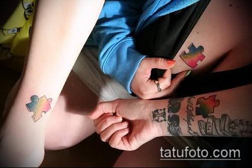 тату пазл №597 - интересный вариант рисунка, который удачно можно использовать для доработки и нанесения как тату пазл на шее