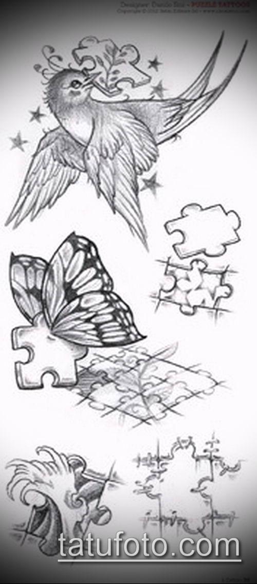 тату пазл №153 - уникальный вариант рисунка, который хорошо можно использовать для переделки и нанесения как тату пазлы рукав