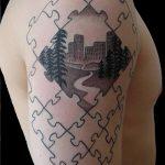 тату пазл №587 - прикольный вариант рисунка, который успешно можно использовать для переделки и нанесения как тату пазлы рукав