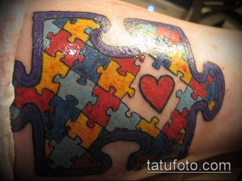 тату пазл №807 - крутой вариант рисунка, который удачно можно использовать для преобразования и нанесения как тату пазл на ноге