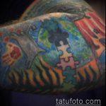 тату пазл №246 - классный вариант рисунка, который хорошо можно использовать для переделки и нанесения как тату пазл на ноге