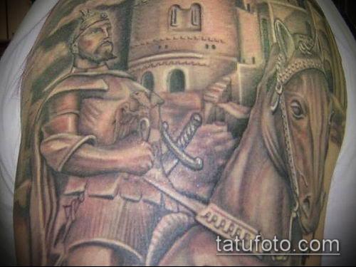 тату рыцарь №761 - эксклюзивный вариант рисунка, который хорошо можно использовать для переработки и нанесения как тату рыцарь ангел