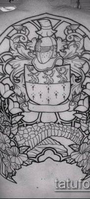 тату рыцарь №573 – достойный вариант рисунка, который хорошо можно использовать для доработки и нанесения как доспехи рыцаря тату