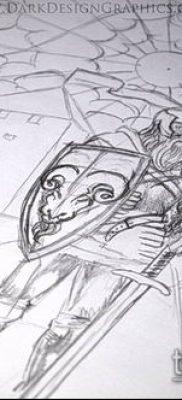 тату рыцарь №889 – эксклюзивный вариант рисунка, который удачно можно использовать для преобразования и нанесения как тату рыцарь на коне