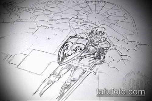 тату рыцарь №889 - эксклюзивный вариант рисунка, который удачно можно использовать для преобразования и нанесения как тату рыцарь на коне