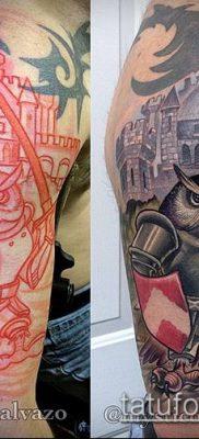 тату рыцарь №253 – прикольный вариант рисунка, который успешно можно использовать для доработки и нанесения как татуировка рыцарь на плече