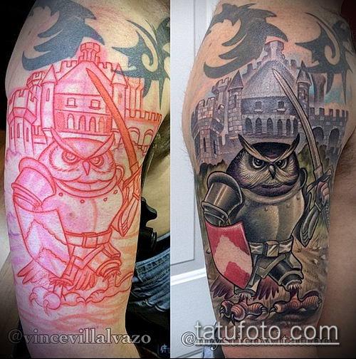тату рыцарь №253 - прикольный вариант рисунка, который успешно можно использовать для доработки и нанесения как татуировка рыцарь на плече