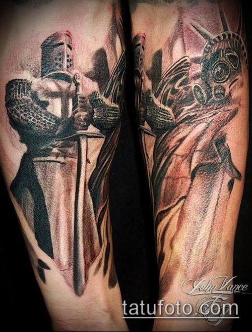 тату рыцарь №627 - интересный вариант рисунка, который удачно можно использовать для переработки и нанесения как Tattoo knight