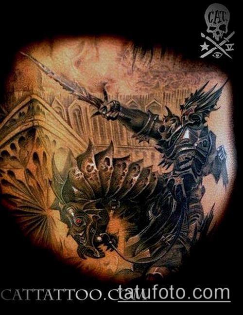 тату рыцарь №835 - классный вариант рисунка, который удачно можно использовать для переделки и нанесения как тату рыцарь смерти