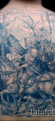 тату рыцарь №139 – классный вариант рисунка, который успешно можно использовать для переделки и нанесения как тату рыцарь с мечом