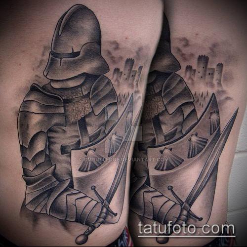 тату рыцарь №901 - крутой вариант рисунка, который легко можно использовать для переработки и нанесения как тату рыцарь ангел
