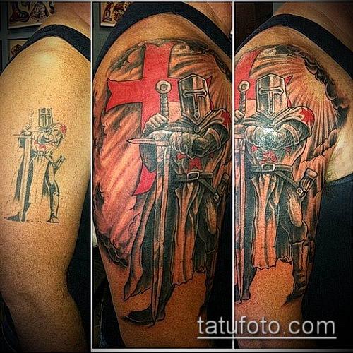 тату рыцарь №597 - прикольный вариант рисунка, который удачно можно использовать для переработки и нанесения как тату рыцарь на руке