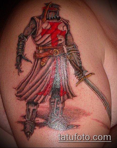 тату рыцарь №455 - достойный вариант рисунка, который удачно можно использовать для преобразования и нанесения как тату рыцарь самурай и викинги и гладиаторы