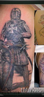 тату рыцарь №763 – интересный вариант рисунка, который хорошо можно использовать для переделки и нанесения как тату рыцарь без головы