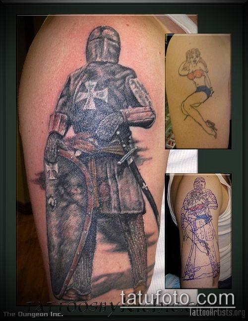 тату рыцарь №763 - интересный вариант рисунка, который хорошо можно использовать для переделки и нанесения как тату рыцарь без головы