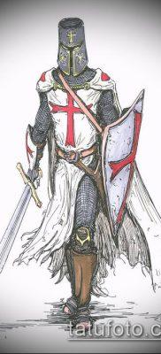 тату рыцарь №225 – прикольный вариант рисунка, который успешно можно использовать для доработки и нанесения как тату рыцарь рукав