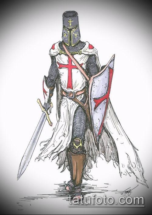 тату рыцарь №225 - прикольный вариант рисунка, который успешно можно использовать для доработки и нанесения как тату рыцарь рукав