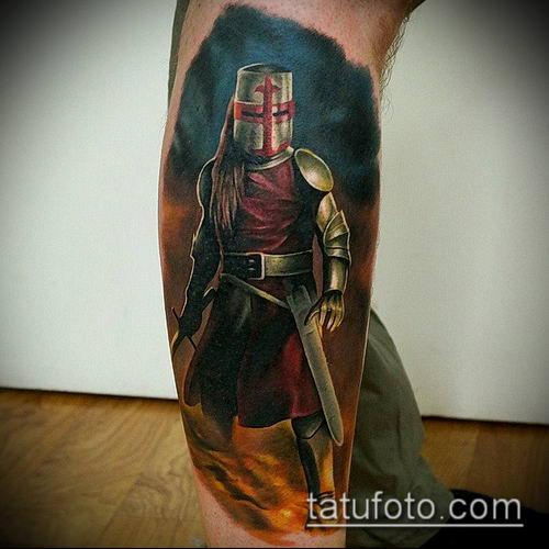 тату рыцарь №919 - крутой вариант рисунка, который легко можно использовать для преобразования и нанесения как тату рыцарь на предплечье