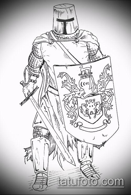 тату рыцарь №576 - крутой вариант рисунка, который легко можно использовать для переработки и нанесения как тату рыцарь ада