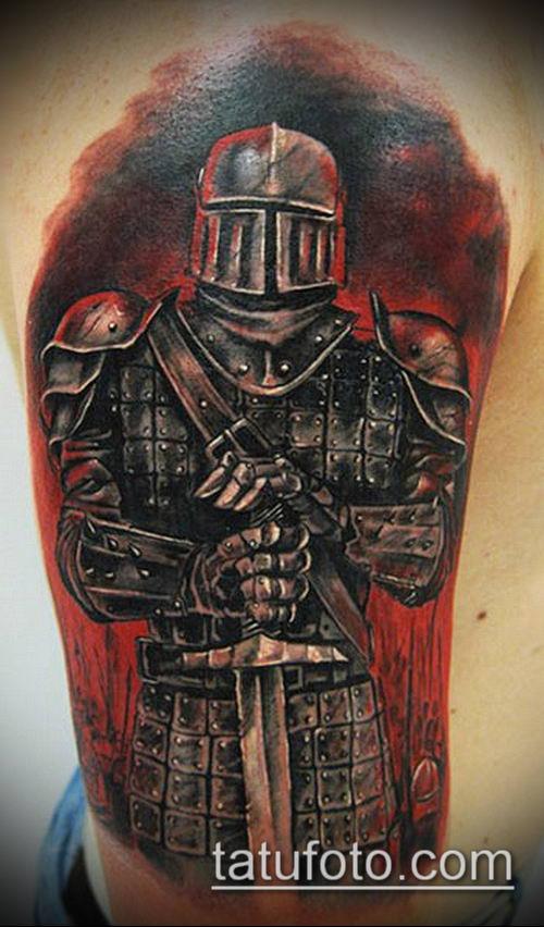 тату рыцарь №503 - прикольный вариант рисунка, который успешно можно использовать для доработки и нанесения как Tattoo knight