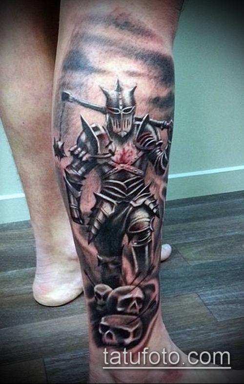 тату рыцарь №128 - достойный вариант рисунка, который легко можно использовать для переделки и нанесения как тату рыцарь в доспехах