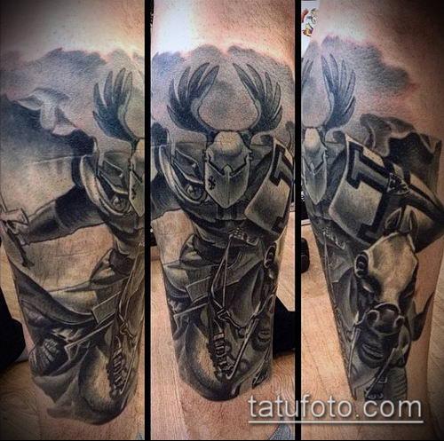 тату рыцарь №786 - классный вариант рисунка, который успешно можно использовать для доработки и нанесения как тату рыцарь без головы