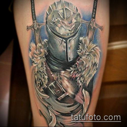 тату рыцарь №218 - крутой вариант рисунка, который удачно можно использовать для переделки и нанесения как тату рыцарь реализм
