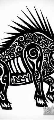 тату свинья №253 – достойный вариант рисунка, который удачно можно использовать для переработки и нанесения как тату свинья и петух
