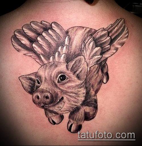 тату свинья №410 - уникальный вариант рисунка, который удачно можно использовать для доработки и нанесения как Pig tattoo