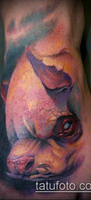 тату свинья №928 – уникальный вариант рисунка, который успешно можно использовать для переделки и нанесения как тату свинья