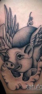тату свинья №464 – крутой вариант рисунка, который удачно можно использовать для переделки и нанесения как тату свинья и петух