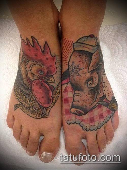 тату свинья №396 - уникальный вариант рисунка, который легко можно использовать для преобразования и нанесения как тату свинья