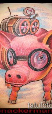 тату свинья №340 – эксклюзивный вариант рисунка, который успешно можно использовать для переделки и нанесения как Pig tattoo